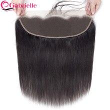 Extensiones de pelo brasileñas con encaje Frontal transparente para mujer, mechones de cabello humano con cierre Frontal de malla 13x4, cabello Remy de encaje suizo marrón medio