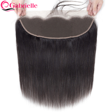 Frontal-Closure Human-Hair Lace Transparent Brown Straight Brazilian Swiss Gabrielle