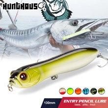 Hunthouse isca de pesca ruidoso lápis com bola chocalho stickbait 130mm 32g topwater cobra cabeça isca para pesca baixo zander pescar