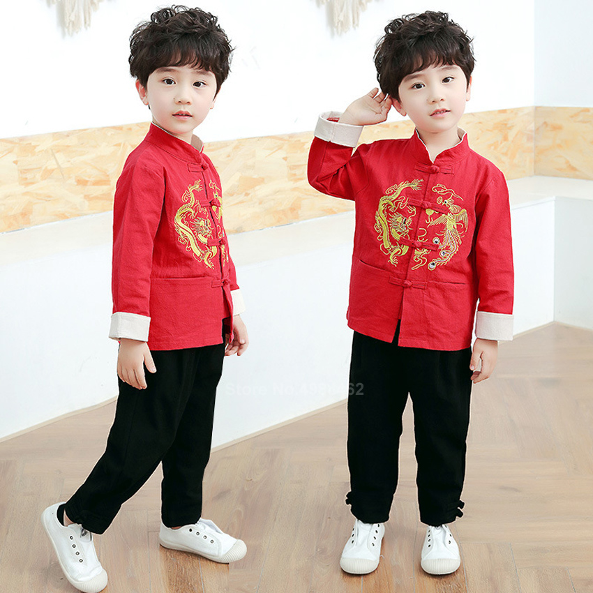Chinese Tops Kids Tang Suit Dragon Emboridey Hanfu Baby Girl Boy New Year Clothes Shirt Traditional Clothing Men Jacket Party