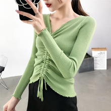 Participants in Thick Knitted Sweater Korean Style V - Neck Long Sleeve Solid Pullover Slim Female Sweaters