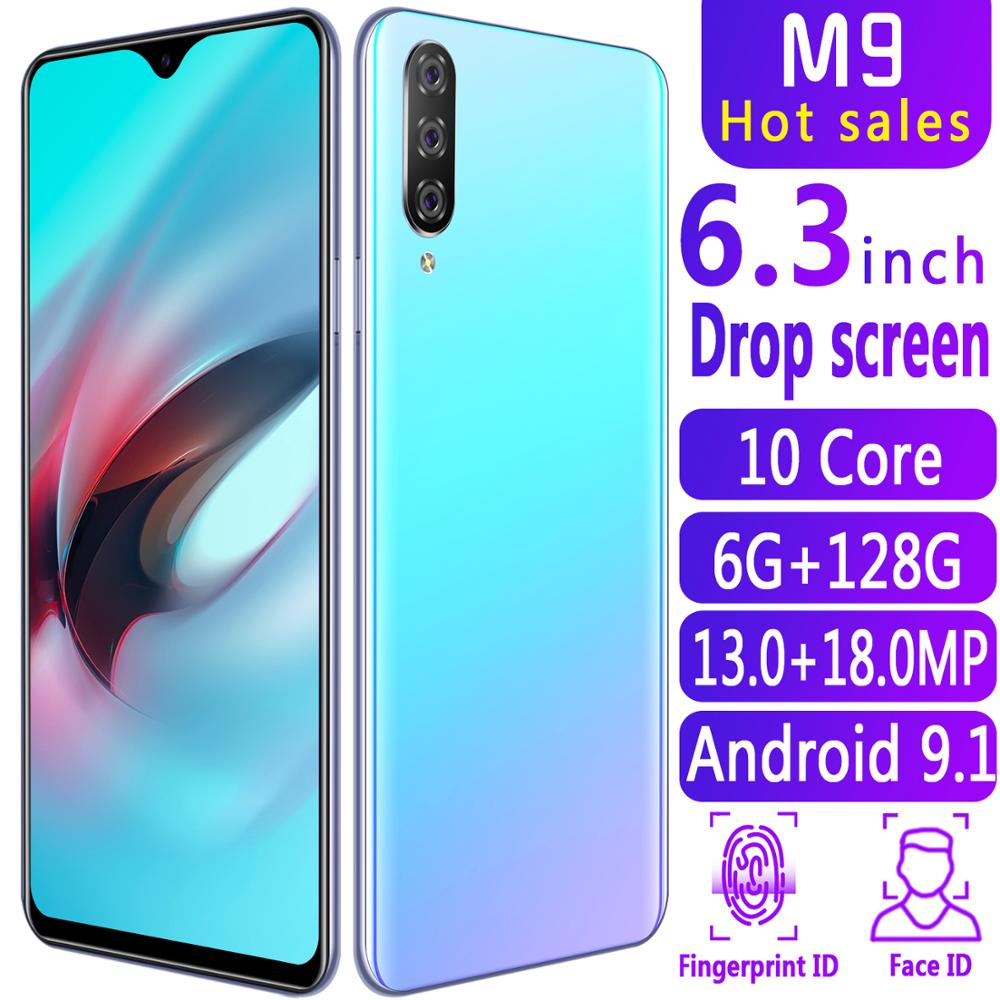 Smartphone M9 Cellphones 6GB+128GB 10 core Android 9.1 Fingerprint Face Unlock Dual Camera 4G Smart Mobile Cell Phone