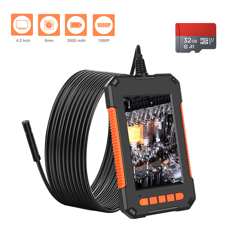 Industrial Borescope 1080P 2 0MP Snake Camera 8mm Borescope Camera 4 3 inch IPS Screen Waterproof Inspection Camera with 32GB