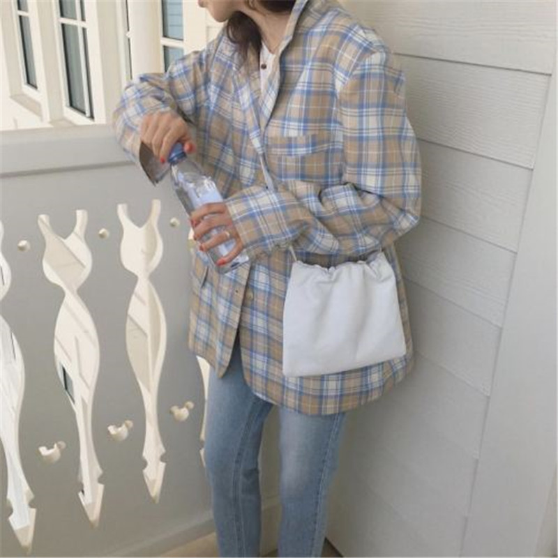 2020 New Arrivals Women Blazers Retro Color Blocking Korean Chic Plaid Loose Outwear Single Breasted For Spring Summer