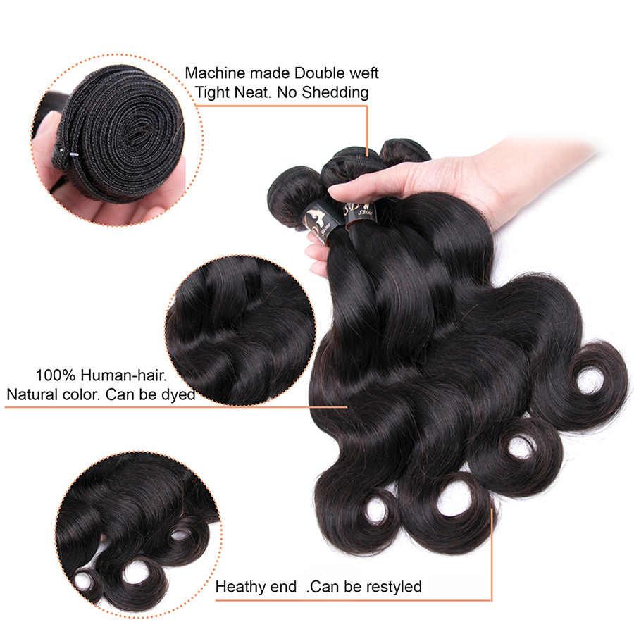 Jsdshine Brasil Menenun Rambut Gelombang Tubuh Bundel Warna Alami 1/3/4 Buah/Banyak 100% Rambut Manusia Bundel Remy rambut Ekstensi