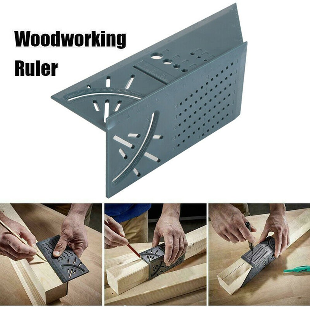 3D Measuring Tool Gauge Ruler Square Mitre Angle Size Measure For Wood Working Angle Ruler 45 Degree 90 Degree Over Ruler