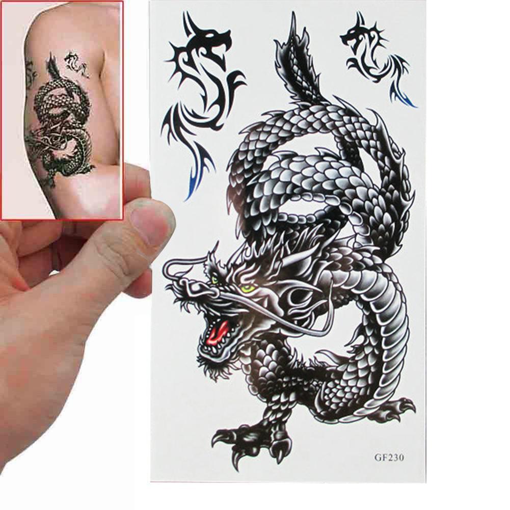 3D Arm Leg Body Art Sticker Black Dragon Disposable Removable Waterproof  Cool Temporary Tattoo Sticker Decal Hand Tattoo 2020