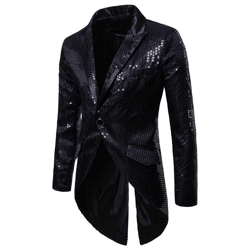 Men Black Sequin Glitter Tailcoat Suit Jacket Brand Slim Fit Single Button Tuxedo Blazer Men Party Stage Singer Costume Homme