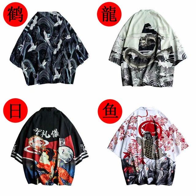 Samuraj żuraw styl japoński Kimono Haori mężczyźni kobiety sweter chiński smok tradycyjny japoński odzież azjatyckie ubrania