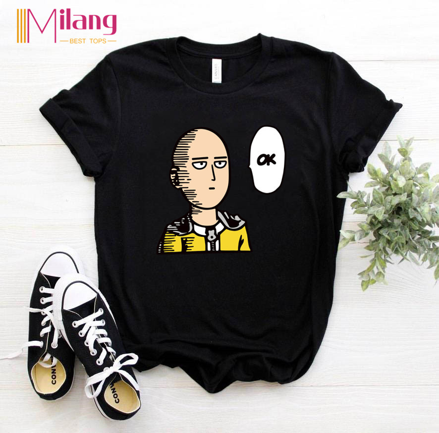 Women One Punch Man Ok Black T-shirts Female Short Sleeve Tees 2020 Summer Brand Anime Clothing Girl Tops