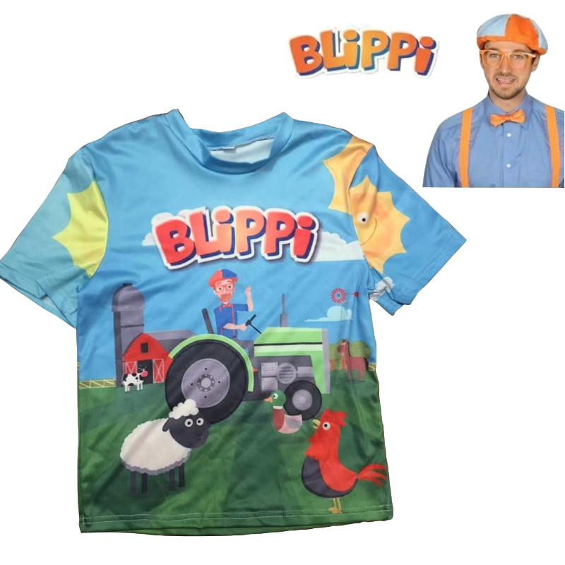 Kids TV Blippi T Shirt Cosplay Tee Short Sleeve Children Blue T-Shirt Top Blouse New