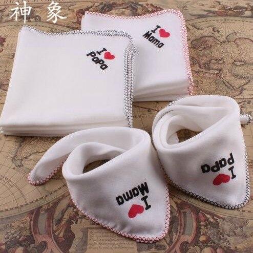 5 pcs/lot  30cm*30cm I love papa mama cotton multipurpose baby saliva towel baby gauze handkerchief burp cloth baby bibs
