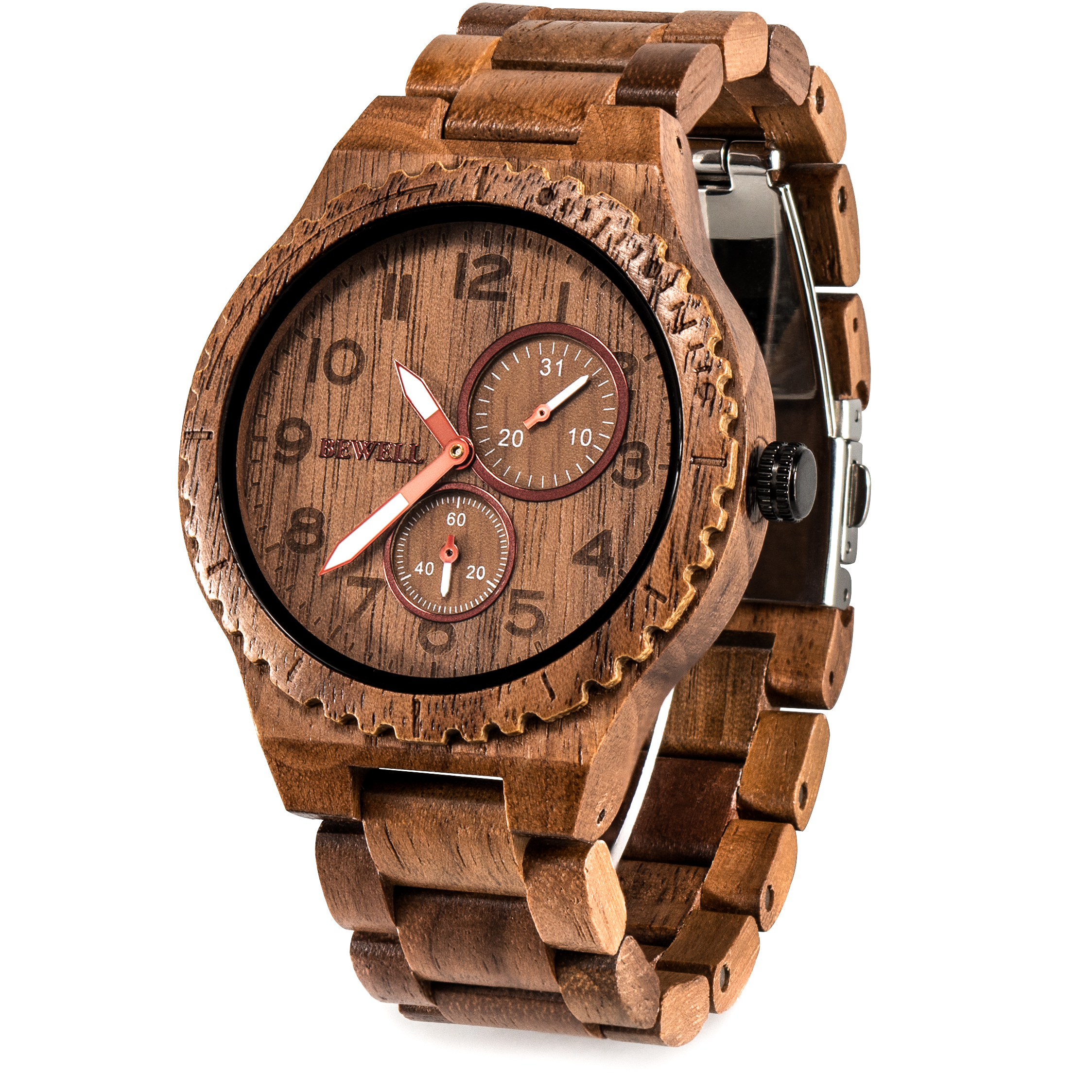 BEWELL Wooden Watch Men Quartz Date Casual Retro Reloj Hombre Lightweight Luminous Wood Watches For Men Relogio Masculino W154A
