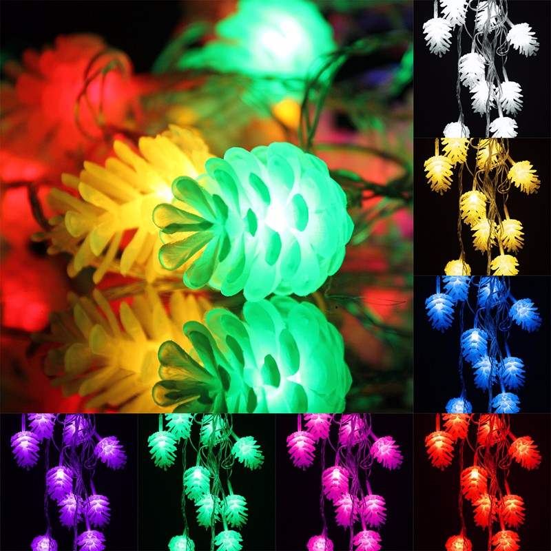 5M 20 LED String Light Pine Cone LED Fairy String Light Garden Lamp Waterproof Christmas Outdoor Decor 110V/220V