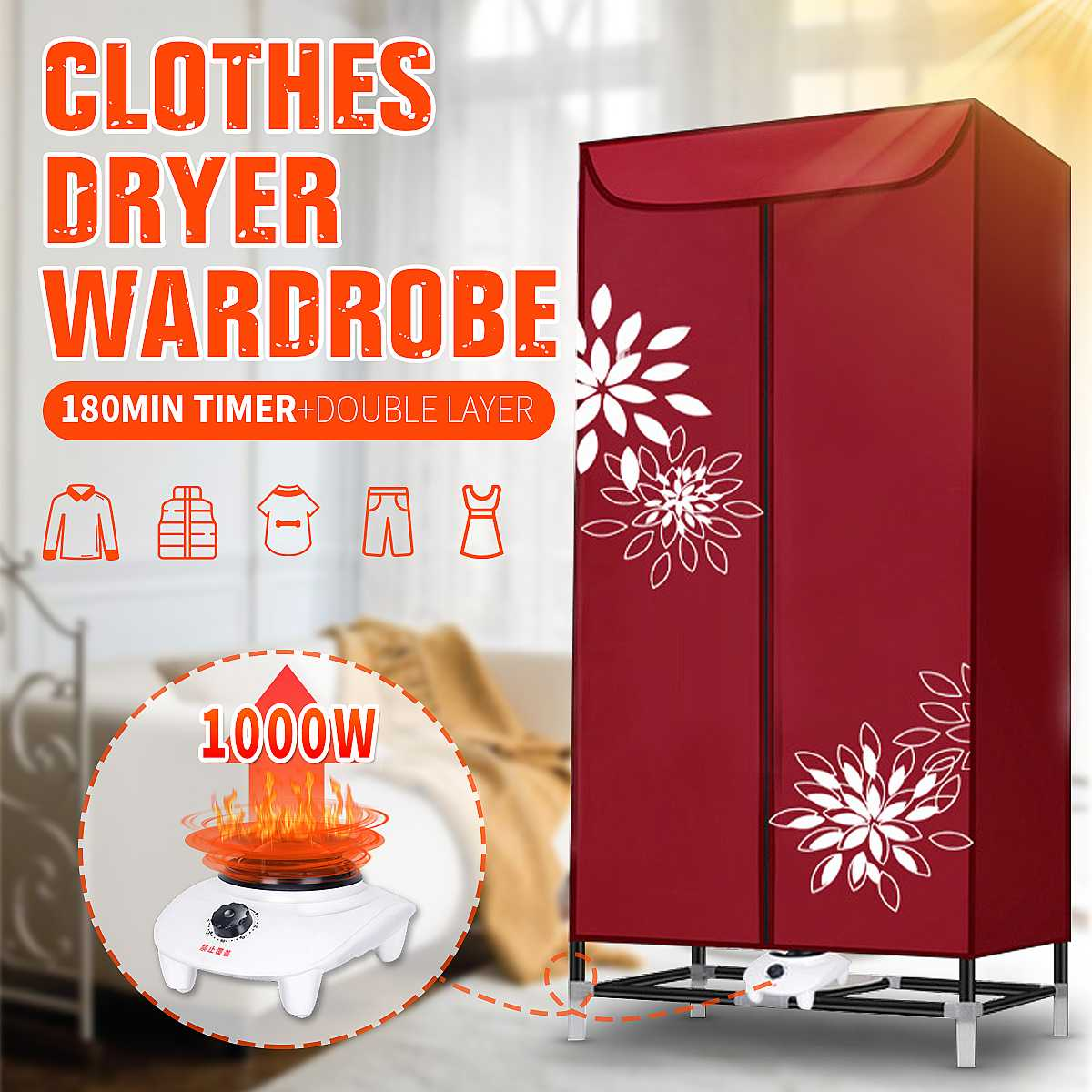 1000W Electric Cloth Dryer Household Portable Cloth Shoes Boots Dryer Power Motor Drying Warm Wind Laundry Garment 180 Min Timer