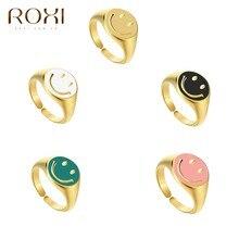 ROXI INS – bagues tendance pour femmes, bague avec visage souriant, pour étudiantes, doigt ouvert, ajustable, bijoux de personnalité, 2021