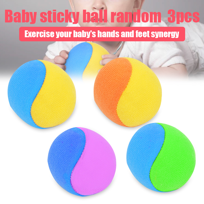 3 Pcs Children Kids Sticky Balls Throw Toy Elastic Soft Educational For Outdoor Sport BM88