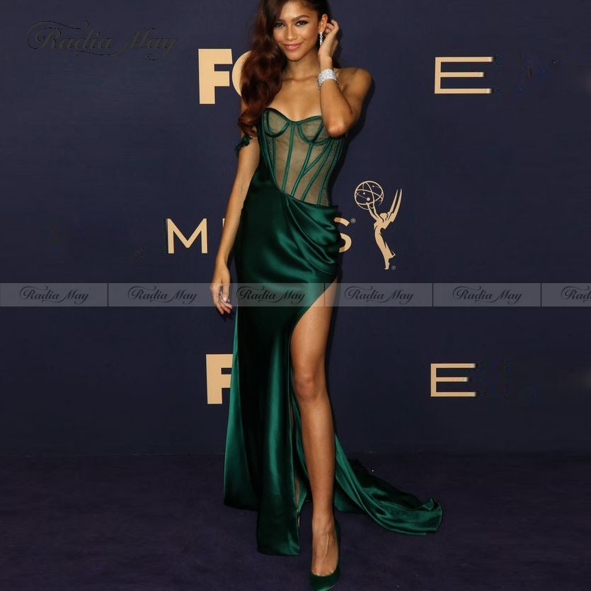 Sexy One Shoulder Mermaid Emerald Green Prom Dresses With Split See Through Corset Long African Formal Dress Women Evening Gowns