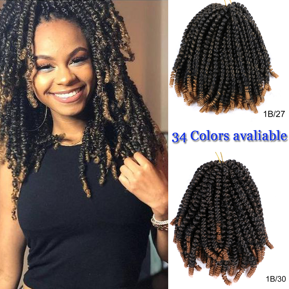 Aigemei 8'' Bob Spring Twist Crochet Braids Bomb Passion Twists Synthetic Braiding Hair Jamaica Bounce For Women