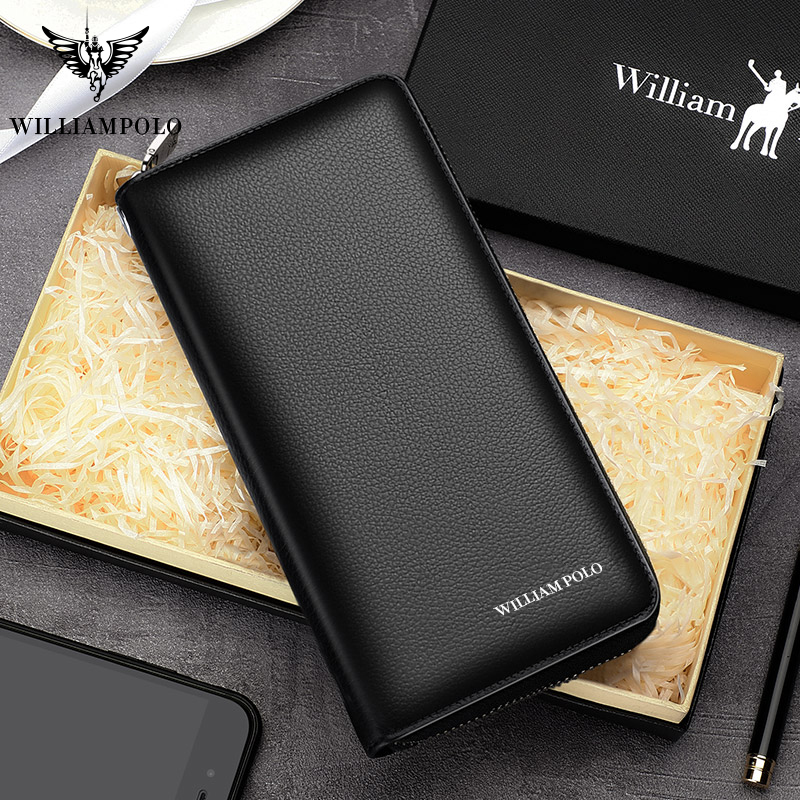 WILLIAMPOLO Mens Wallet Leather Genuine Money Bag RFID Card Package Clutch Passport Cover Purse Long Coin Wallets Fashion Design