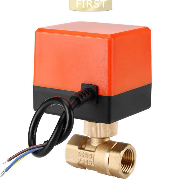 DN15 / DN20 / DN25 motorized electric 2 way brass ball valve DN20 AC 220V 2 way 3 wire  with actuator cable for gas water oil