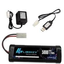 オリジナル 7.2v 5000/3500mahのニッケル水素バッテリーパックとtimiyaコネクタ 2pプラグsc * 6 電池おもちゃの車ボート 7.2v充電器