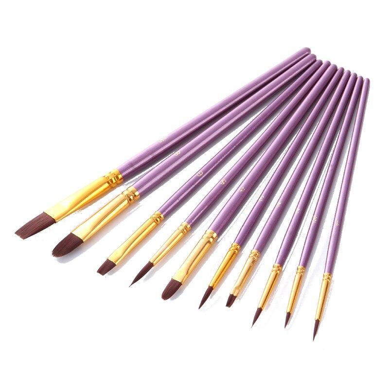 10 шт. фиолетовая художественная краска для рисования нейлоновая Кисть акриловый набор для волос художественная ручка акварельные