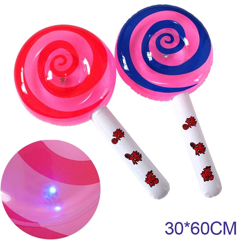 Lighting Inflatable Cartoon Lollipop Toy Children Pool Beach Ball Play Toys Balls Party Random Color DS29