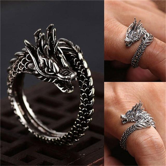 1 Pcs Cool Opening Rings Unisex Ring Men Women Jewelry Adjustable Sterling Dragon Ring Good Gifts Alloy  Animal  Metal  Unisex 1