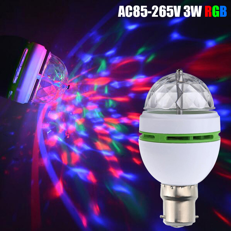 RGB Party Lights Bulbs B22 Wide Voltage Base LED Stage Light Colorful Bulbs DJ Lamp Auta Rotating Stage Light Bombillas D30