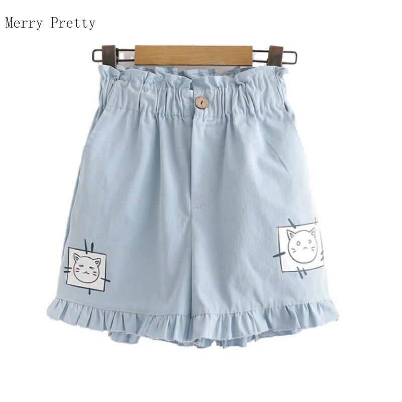 Hight Waist Cartoon Cat Print Women Shorts Summer 2020 Casual Loose Cotton Shorts Mini Hot Shorts Korean Style Femme Shorts