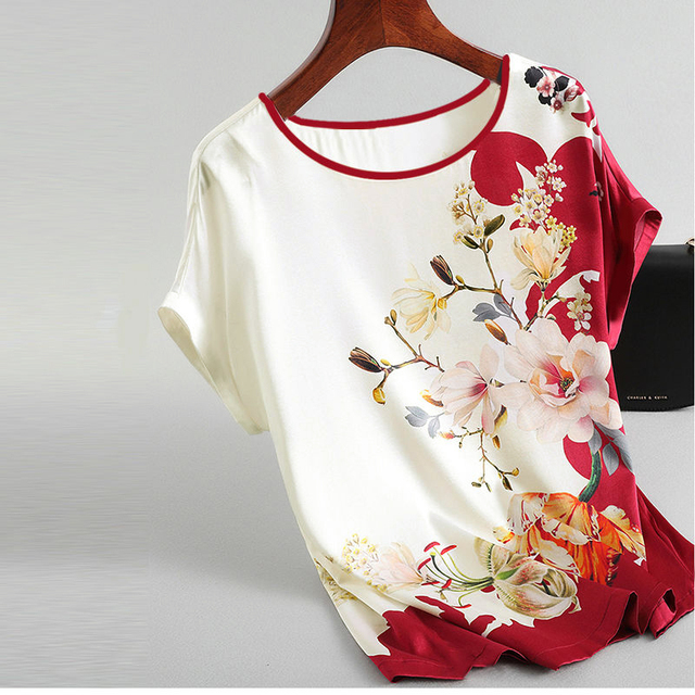 Women Silk Satin Blouses Plus size Batwing sleeve Vintage Print Floral Blouse Ladies Casual Short sleeve Tops 2