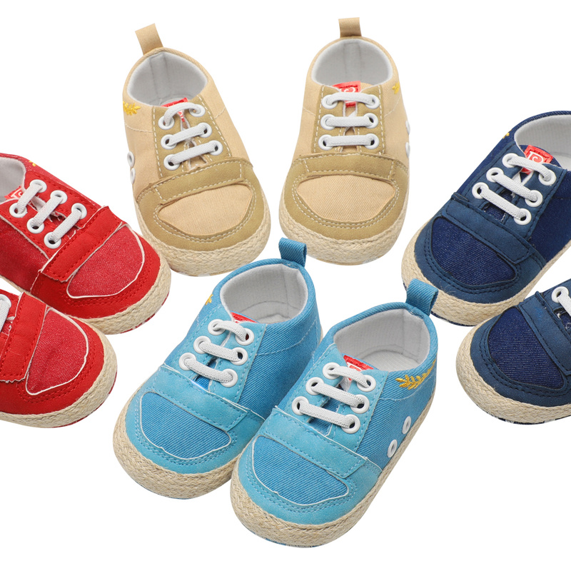 Infant Baby Boy Girl Shoes Leather Sneaker Canvas Cotton Sole Soft Light Newborn Toddler Outside First Walkers For Kid Boy