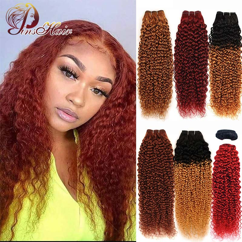Brazilian Kinky Curly Hair Bundles Dark Brown Bundles 1B 27 Red Burgundy Weave Human Hair Bundle Honey Blonde Remy Hair Pinshair