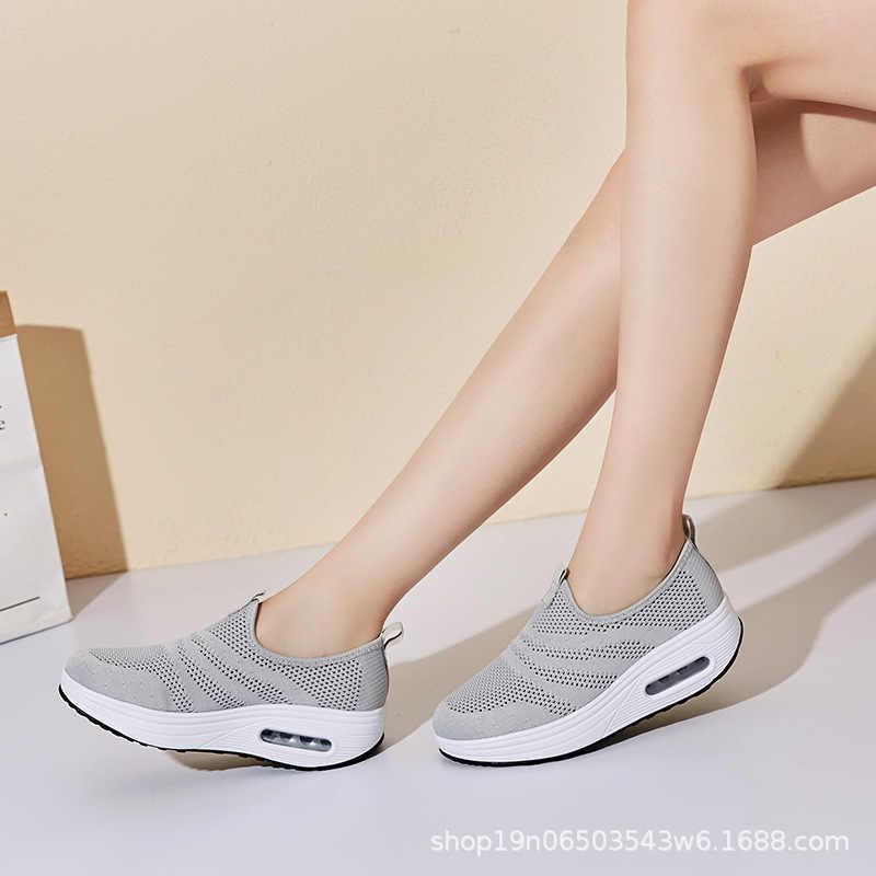 COWCOM Drop אביב כרית עבה תחתון עף אריגת חלול לנשימה פנאי ספורט וודל נעלי נשי שיער CYL-2008