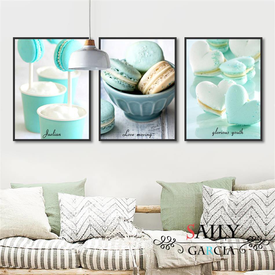 Modern Kitchen Decor Canvas Art Dessert Foods Painting Nordic Green Peppermint Macaron Posters Framework Wall Art Print Picture