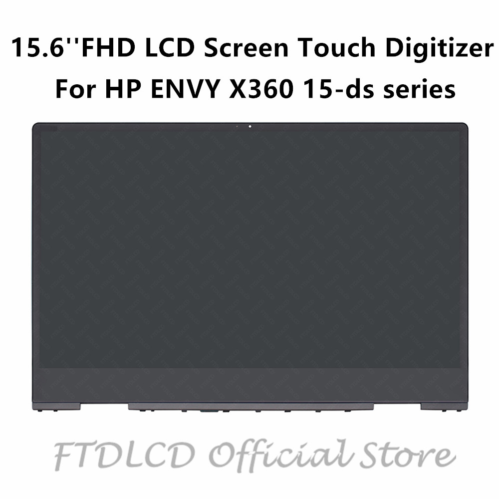 FTDLCD 15.6'' L53868-001 FHD LCD Screen Touch Digitizer Assembly+Frame For HP ENVY X360 15-ds 15-ds0002na 15-ds0902ng 15-ds0012d