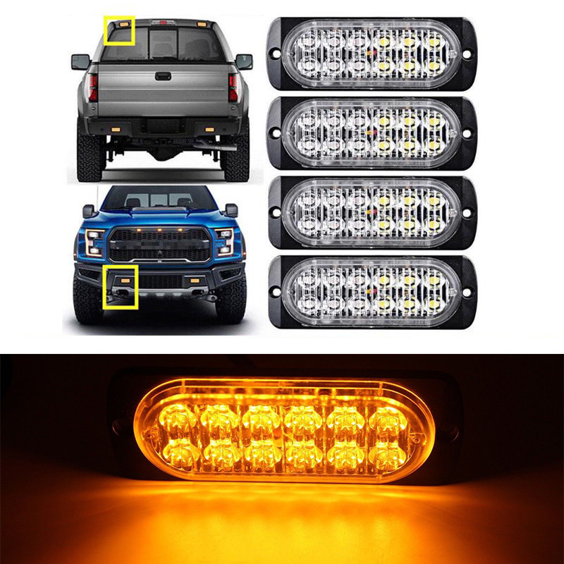 4 x 6 LED Warning Beacon Amber Module Recovery Strobe 12v or 24v HGV Van Hazard