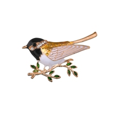 Gariton Rhinestone Enamel Colorful Bird Brooches Men Womens Alloy Branch Brooch Pins Suits Dress Banquet
