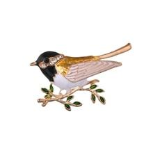 цены Gariton Rhinestone Enamel Colorful Bird Brooches Men Women's Alloy Bird Branch Brooch Pins Suits Dress Banquet