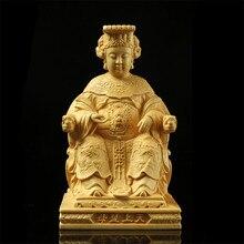Lin Mo chinois, sculpture en bois Lin Moniang, Statue de déesse de la mer Mazu, décoration de voiture, Figurines ma-tsu