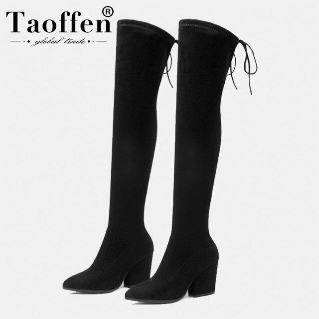 Taoffen kış yüksek topuklu ayakkabılar kadınlar diz çizmeler üzerinde yumuşak yüksek kaliteli botları sıcak kürk ofis ayakkabı kadın ayakkabısı boyutu 34 43