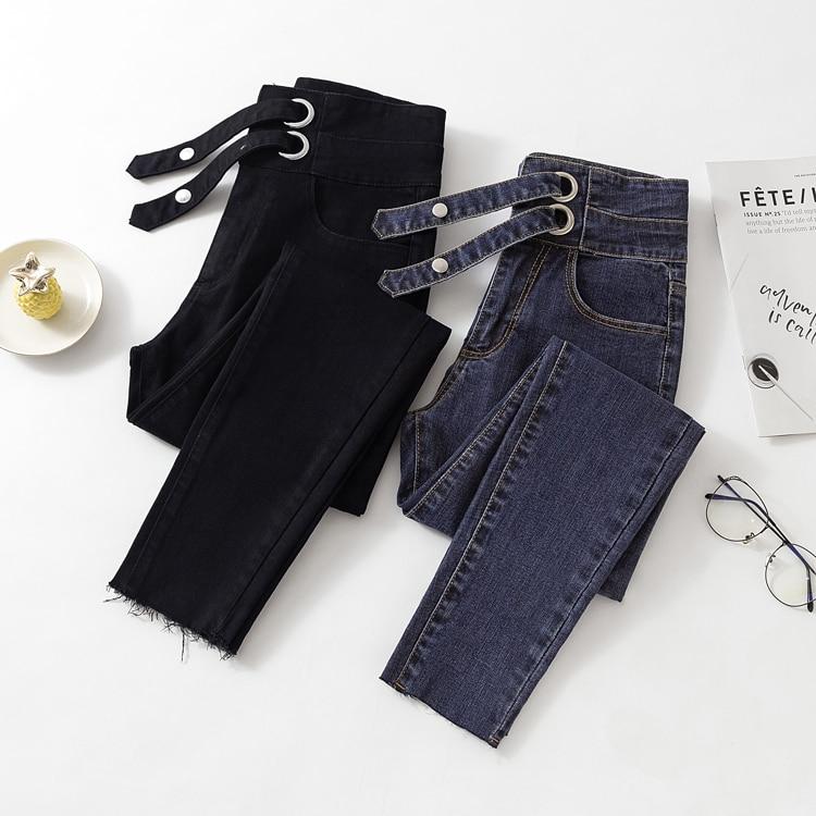 Vintage Mom Fit High Waist Jeans Elastic Femme Women Washed Black Denim Skinny Jeans Woman Classic Pencil Pant Plus Size