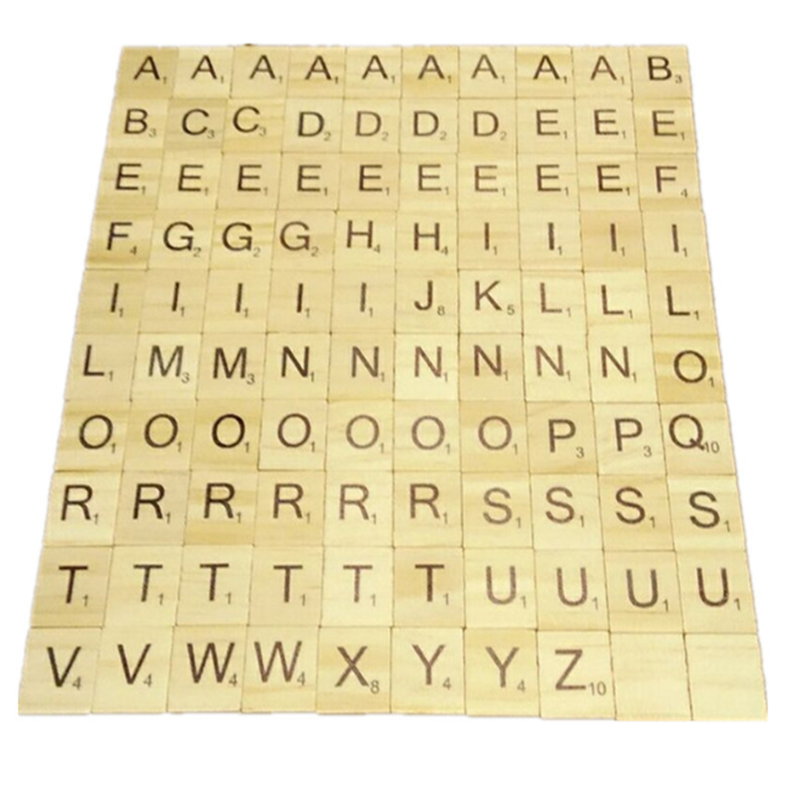 Wooden Scrabble Letters 100 Pcs/set Wooden Alphabet Scrabble Tiles Black Letters & Numbers Digital Puzzle Wooden Toys For Child