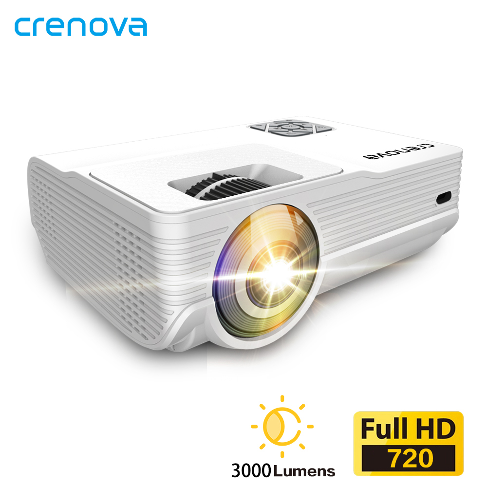 CRENOVA HD MINI Projector 1280x720P Video Beamer  3000 Lumens  3D Cinema  Support 1080PHD-INUSB Optional Android Version