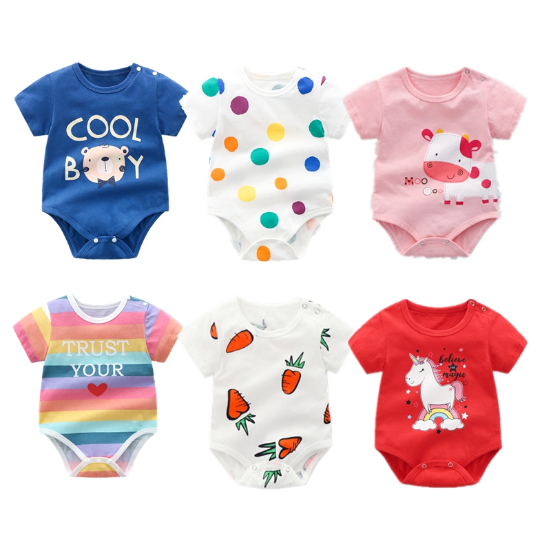 <font><b>Baby</b></font> Bodysuit Newborn <font><b>Baby</b></font> Boy Girl Clothes Infant Short Sleeve Onepiece Cotton Unsisex <font><b>Body</b></font> Clothing <font><b>Baby</b></font> boy Summer Clothes image