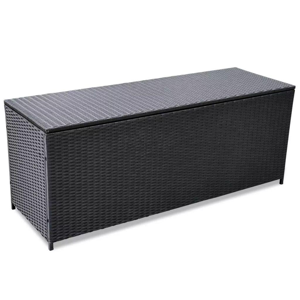 VidaXL Garden Storage Box Black 150x50x60 Cm Poly Rattan