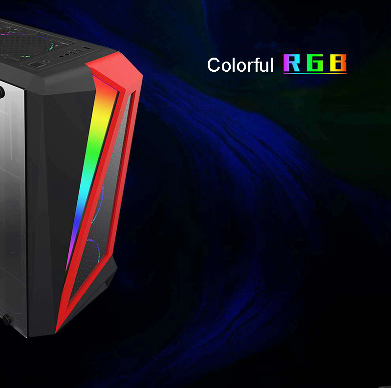 39*18*43.5cm DIY Gaming Computer PC Case ATX full side transparent Glass Panel RGB glowing Desktop Computer Mainframe Chassis
