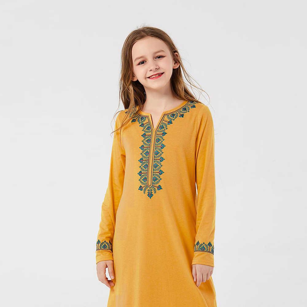 소녀 이슬람 Abaya 어린이 터키 어린이 Kaftan 가운 두바이 Hijab 드레스 자수 Abayas Caftan Marocain 이슬람 의류