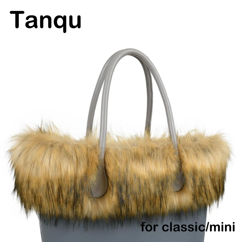 Tanqu New Women Bag Faux Raccoon's Fur Plush Trim For O BAG Thermal Plush Decoration Fit For Classic Big Mini Obag